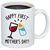 MyCozyCups New Mom Gift - Happy First Mother's Day Coffee Mug - Funny Cute Touching Quote 11oz Ceramic Cup For Birthday, Christmas, Valentine's Day, Anniversary From Daughter, Son, or Husband