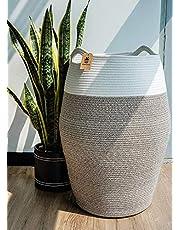 Goodpick Large Laundry Hamper - Tall Laundry Basket Cotton Rope Basket Woven Storage Baskets Dirty Clothes Hamper Blanket Basket for Living Room Decorative Pillow Basket