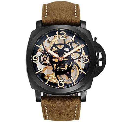Parnis 47mm Skull Hollow Out Dial Stainless Steel Case Mineral Glass Luminous Pointer 5ATM Water Resistance 17 Jewels Seagull 6497 Hand Winding Movement Men's Watch (Model-2) ()