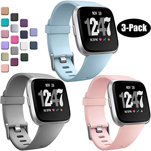 Wepro Bands Compatible with Fitbit Versa/Fitbit Versa 2/Fitbit Versa Lite SE SmartWatch for Women Men, Sports Replacement Wristband Strap for Fitbit Versa Watch, Large, 3 Pack, Pink Sand, Gray, Aqua
