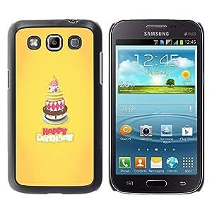 Qstar Arte & diseño plástico duro Fundas Cover Cubre Hard Case Cover para Samsung Galaxy Win / I8550 / I8552 / Grand Quattro ( Cake Happy Birthday Yellow Sweet)