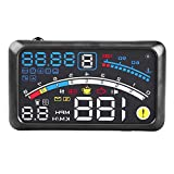 Car Hud Heads Up Display, 5.5 inch Universal F4 MPH Over Speed Alarm Speedometer Head Up Display KMH Windshield Projection Film 12V for Cars Navigation Other Vehicles