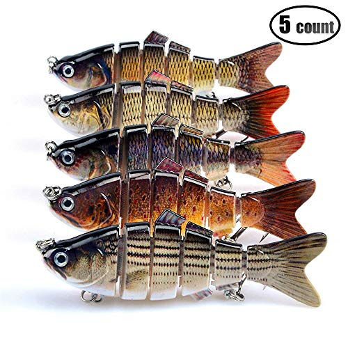 IZTOSS 5pcs Bass Crusher Lures,Fishing Soft Plastic Lures 6 Segments Artificial Bait Perch Pike Walleye Trout