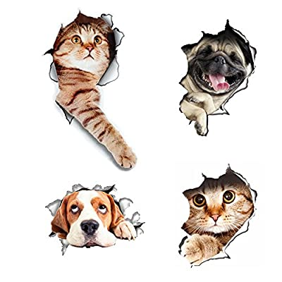 3D Cats Wall Decals Removable Toilet Lid Stickers Hole View Vivid Dogs Decals Art Sticker for Bathroom /Kids Room/ Refrigerator Decoration 4pcs?3D?