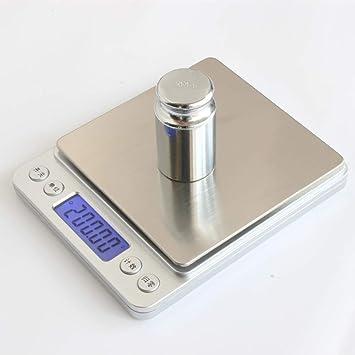 ZHANGYUGE Dos Palets de Alta precisión Respostería Casera Cocina balanzas electrónicas de Bolsillo Escala Joyería balanzas electrónicas,3000G-0.1G: ...
