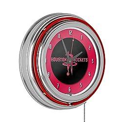 Houston Rockets NBA Chrome Double Ring Neon Clock