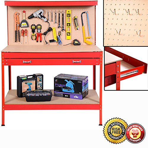Work Drawer Table (New Work Bench Tool Storage Steel Frame Tool Workshop Table W/ Drawers and Peg Board Red)