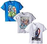 Marvel Boys' 3-Pack T-Shirt, Blue/Gray/White, 10/12