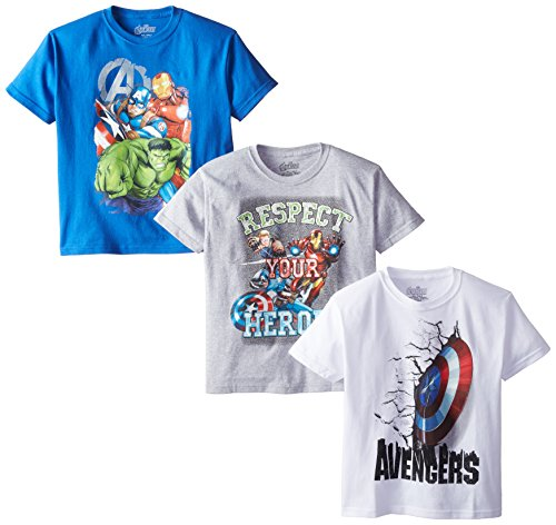 Marvel Boys' 3-Pack T-Shirt, Blue/Gray/White, 18 -