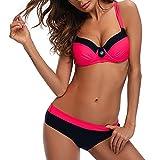 CFR 2018 New Sexy Bikini Swimsuit Low Waist Halter Push up Top Triangle Bikini Set Bathing Beach Wear Rose Red,L UPS Post
