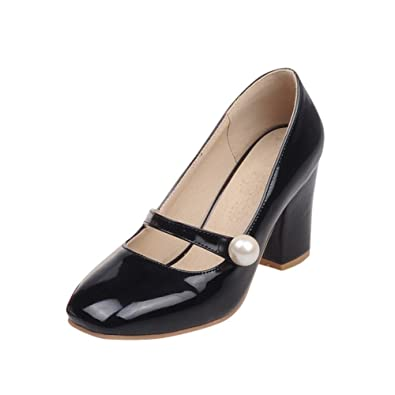 9950fc6ea8c Latasa Women s Fashion Bead Square-Toe Chunky High Heel Mary Jane Shoes  Dress Pumps Shoes