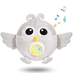 BEREST Baby Sleep Soother Owl, Baby White Noise and Toddler Sleep Aid Night Light, Lullaby Sound Machine - Sleep Sound Toys, Portable Stuffed Projector Owl, Baby Sleep Aid Toy (Gray)??