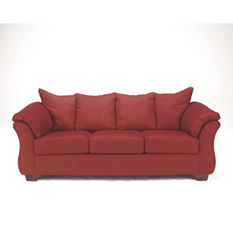 Signature Design by Ashley - Darcy Contemporary Microfiber Sofa, Salsa Red