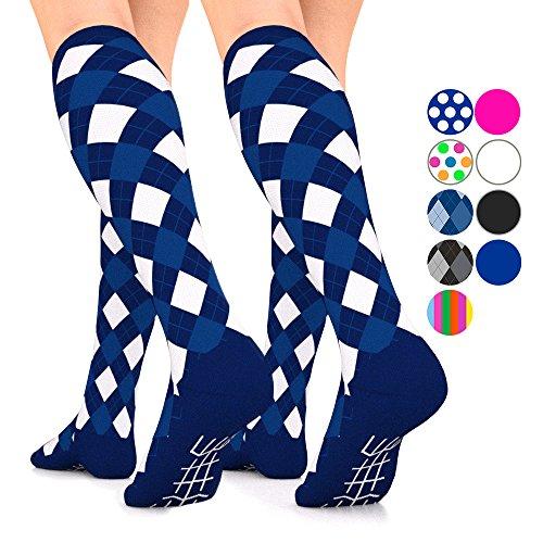 Go2Socks GO2 Compression Socks for Men Women Nurses Runners 16-22 mmHg (Medium) - Medical Stocking Maternity Travel - Best Performance Recovery Circulation Stamina - (blueargyle Large Two)