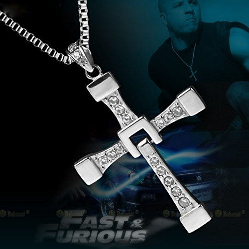 Silver Ruimeng Silver Plated Fast /& Furious Dominic Torettos Cross Necklace with Jewelry Box Christmas Gifts Rui85A32
