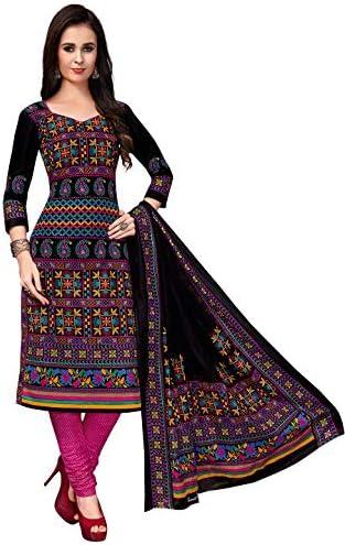 Jevi Prints Women's Cotton Printed Straight Stitched Salwar Suit Set (SUIT_KSP-6107_Black & Pink)