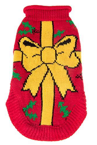 Cute Christmas Festive Holiday Pet Dog Sweater Costume | Perfect for Many Breeds of Dogs & Cats | Red with Mistletoe and Yellow Bow | Size Large | Measurements Body (Clever Cat Costume)