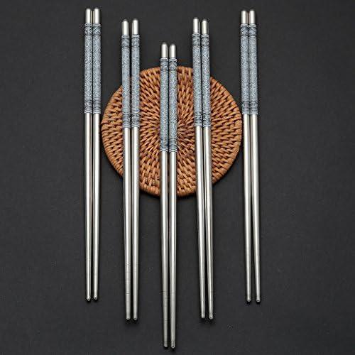 10 pares de palillos de acero inoxidable - reutilizables y aptos ...
