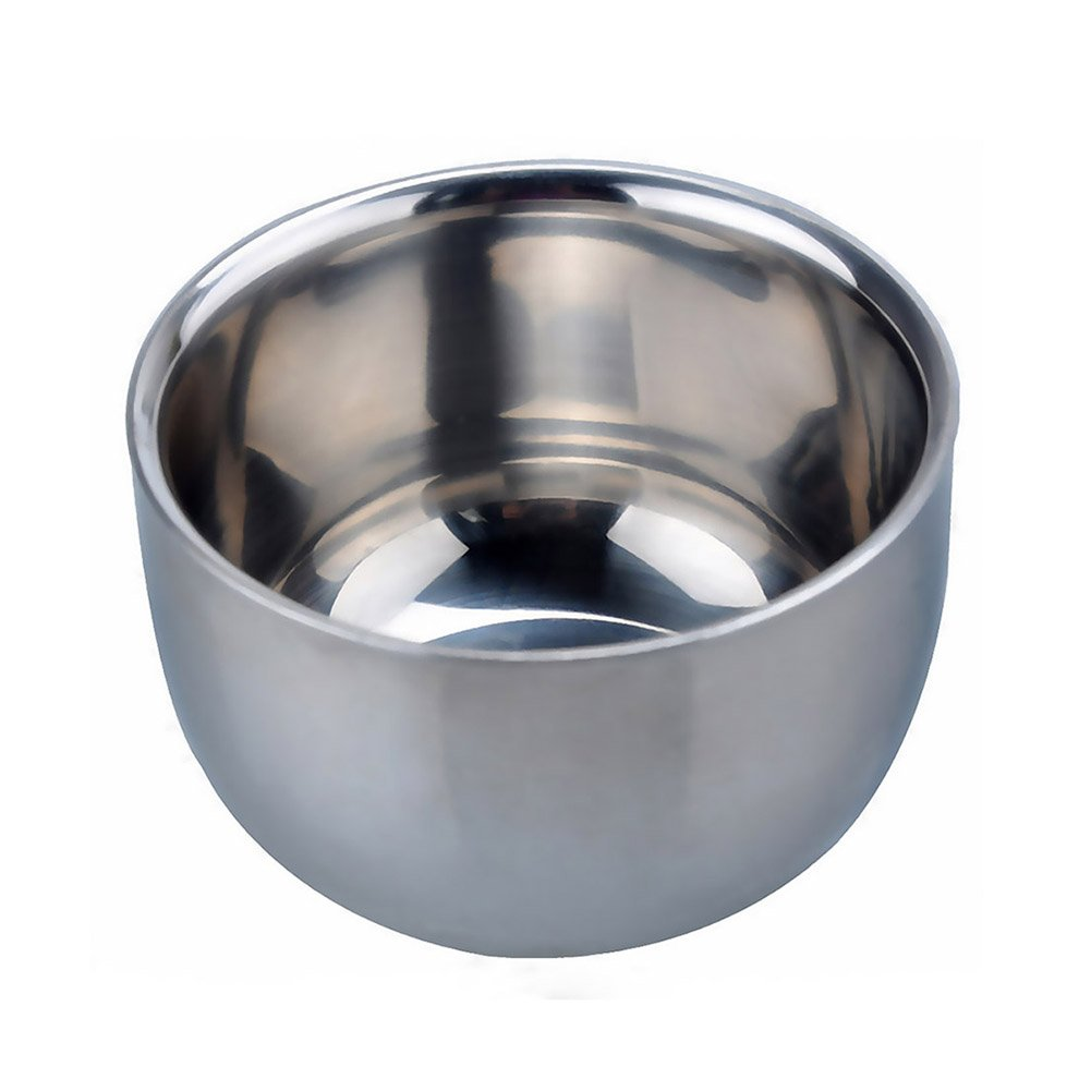 AKStore Men's Durable Shave Soap Cup Shining High Quality Double Layer Stainless Steel Heat Insulation Smooth Shaving Mug Bowl