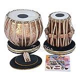 (US) MAHARAJA Concert Lord Shiva Design Brass Tabla Set 4 Kg Brass Bayan, Finest Black Sheesham Dayan with Padded Bag, Book, Hammer, Cushions & Cover (PDI-CAA)