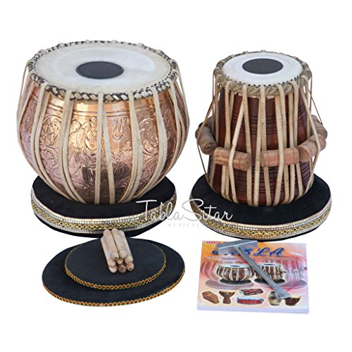 Concert Quality Tabla by Maharaja Musicals, 4 Kilogram Brass Bayan, Lord Shiva Design, Sheesham Dayan, Tuneable To C Sharp, Padded Bag, Book, Hammer, Cushions, Cover, Tabla Drums (PDI-CAA) by Maharaja Musicals