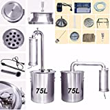 20L-150L Litres Stainless Home Distiller Moonshine Still Alcohol Water Brandy Grape Wine Vodka White Spirit Essential Oil Distillation With Water Pump Exhaust Valve Thermometer