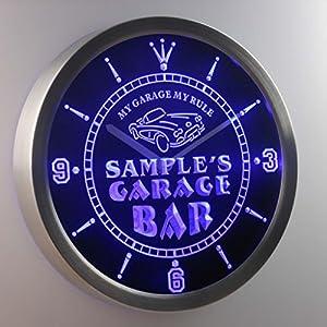 Garage bar message with blue neon lighting
