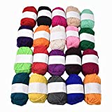 RayLineDo® Pack 20 x 25g Ball Assorted Colors 100% Acrylic Knitting Yarn Crochet Crafts Total of 900m Colourful Yarn with 3 Crochets