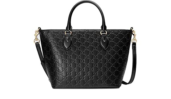51bf1c2f5dcf Amazon.com: Gucci Guccisima Black Signature Calf Top handle Leather Bag Zip Purse  Italy New: Shoes