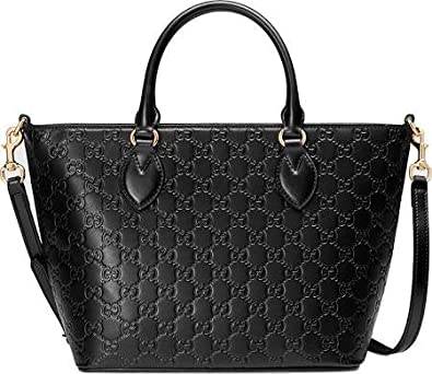 29b2b3e8936 Amazon.com  Gucci Guccisima Black Signature Calf Top handle Leather Bag Zip  Purse Italy New  Shoes
