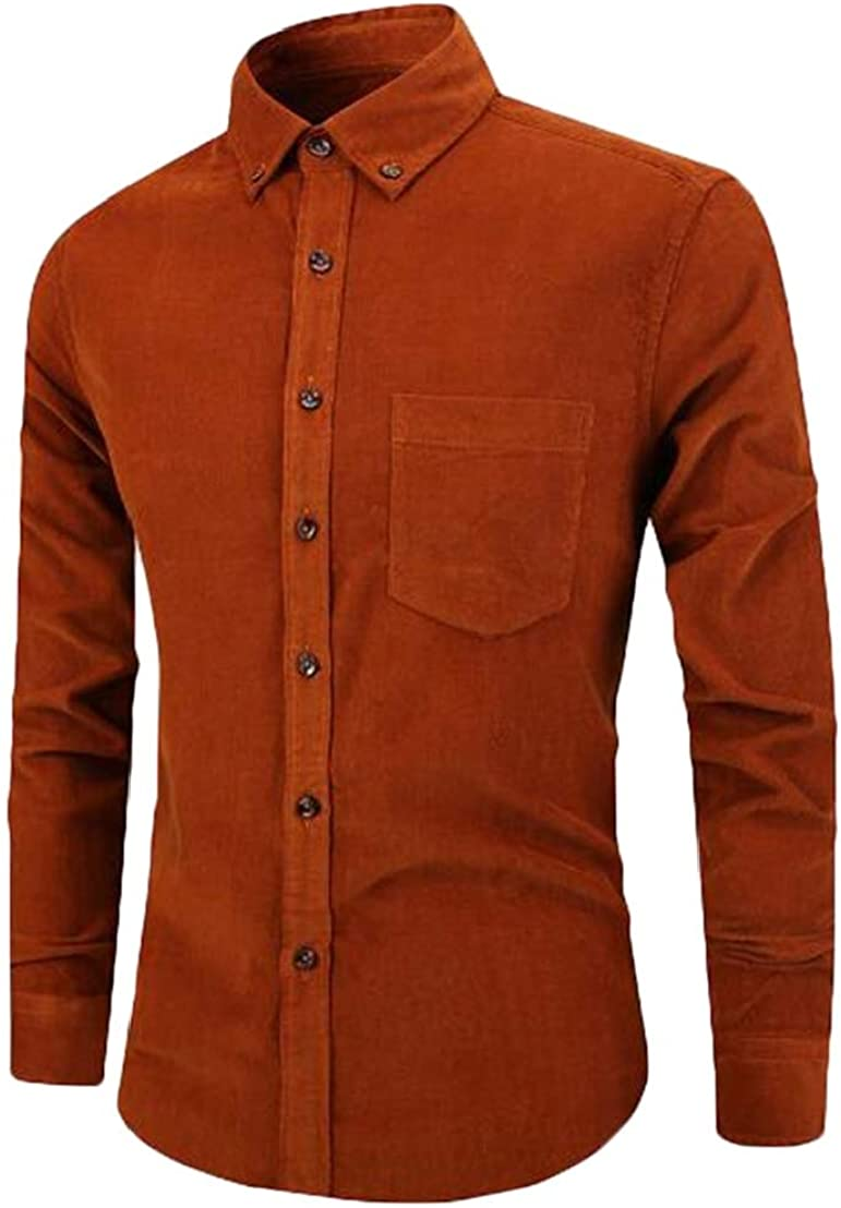 UUYUK Men Corduroy Vintage Long Sleeve Button Front Business Shirts