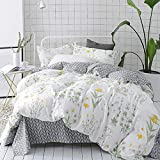 CLOTHKNOW Botanical Floral Duvet Cover Sets Full/Queen White Yellow Flower Branches Design Bedding Duvet Cover Sets 100 Cotton for All Season 3 Pieces - Duvet Cover Zipper 2 Pillow Shams NO Comforter