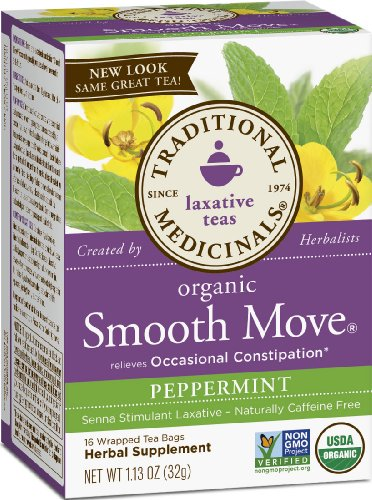 Traditional Medicinals Organic Smooth Move Peppermint Laxative Tea, 16 Tea Bags (Pack of 6)