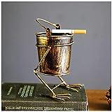SILK ART Vintage-Style Creative Cigarette Ashtray Creative Cigar Ash Tray Metal Ash Holder Indoor Outdoor Home Office (B)