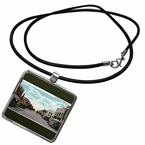 (3dRose BLN Vintage US Cities and States Postcards - Second Street, Laramie, Wyoming Antique Cars Lining The Street - Necklace with Rectangle Pendant (ncl_170935_1))