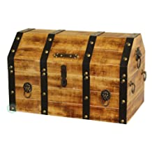 Vintiquewise Large Wooden Pirate Trunk with Lion Rings