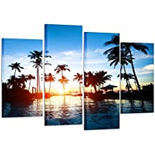 Kreative Arts - Framed Wall Art Canvas Prints Tropics Sea on Sunset Picture Large 4 Pieces Palm Tree Seascape Painting Artwork Pictures for Living Room Bedroom Decoration