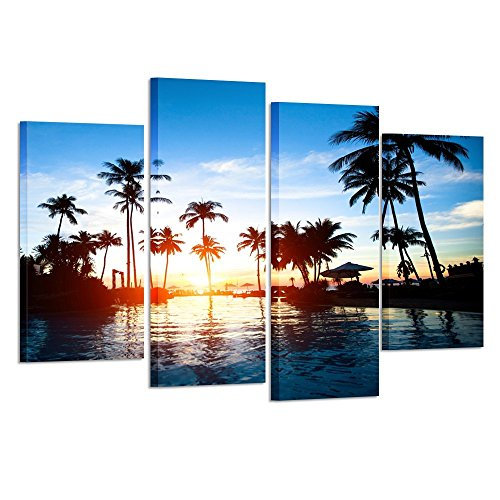 Blue Tree Palm (Kreative Arts Framed Wall Art Canvas Prints Tropics Sea on Sunset Picture Large 4 Pieces Palm Tree Seascape Painting Artwork Pictures for Living Room Bedroom Decoration)