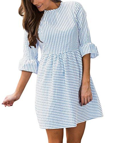 Women Black White Stripes Flounce Bell Half Sleeves Pleated Babydoll Seersucker Short Dress Summer Casual Skater Dress Navy Blue Medium