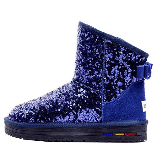 HooH Women's Nubuck Sequins Warm Snow Boots 5625 Blue NR16ub