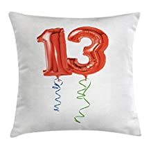 13th Birthday Decorations Throw Pillow Cushion Cover by Ambesonne, Red Ballons with Swirled Ribbons Number Thirteen Celebration, Decorative Square Accent Pillow Case, 24 X 24 Inches, Red Green Blue
