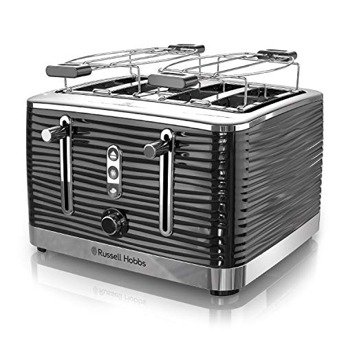 Russell Hobbs TR9450BR Coventry 4-Slice Toaster, Black, Included Warming Rack