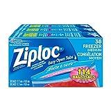 Ziploc Freezer Bags with Double Zipper Seal and Easy Open Tabs - Medium - 114 Count (3x38count)