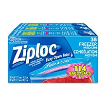 Ziploc Freezer Bags with Double Zipper Seal and Easy Open Tabs - Medium - 114 Count (3x38count)
