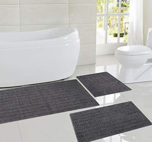 (Pure Cotton Banded Bathroom Mat   Reversible Luxury Feel Bath Rug Runner   Extra Absorbent Machine Washable Shower Mat   Soft & Fluffy Striped Bath Rug, Pack of 3: (17X24, 18X28 & 20X48 Inches, Grey))