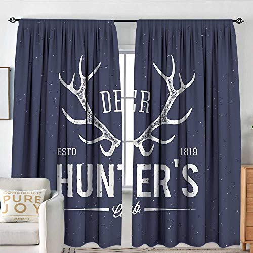 (NUOMANAN Decor Room Darkening Wide Curtains Hunting Decor,Deer Hunters Club Logo Design with Antlers Retro Typography Shabby Icon,Navy Blue White,Insulating Room Darkening Blackout Drapes 120