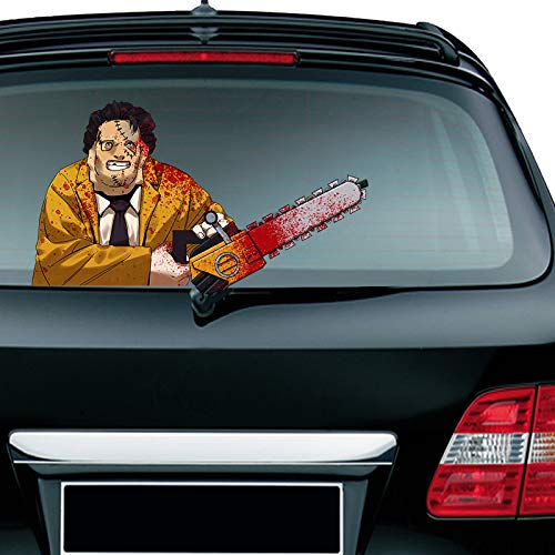 Tag Decal - MIYSNEIRN Latest Horror Leather Mask Saw Killer Car Rear Wiper Decal Sticker Scary Bloody Masked Man Wiper Decal Tag Nightmare Waving Wiper Decal Tags for Rear Window Windshield Wiper Covers (Style 1)