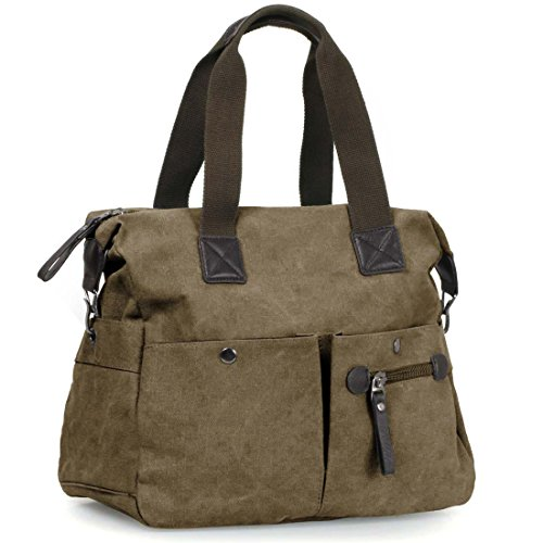 Brown Canvas Tote (BMC Womens Rustic Brown Textured Canvas Multi Pocket Shoulder Tote Fashion Handbag)