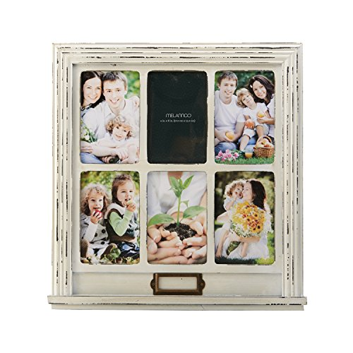 MELANNCO 6-Opening Distressed Window Collage, White, 15.25-Inch-by-16-Inch (Wood Window Frame)
