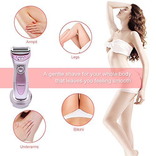 Cordless Women's Electric Shaver, 3-Blade Wet & Dry Body Hair Epilator Bikini Trimmer